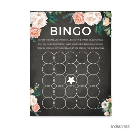 Peach Chalkboard Floral Garden Party Wedding Collection, Bridal Shower Bingo Game Cards, 20-Pack