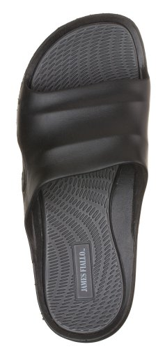 J. Fiallo Mens New Slide Beach Sandal Slippers in 3 Classy Colors (10, Black/Grey)