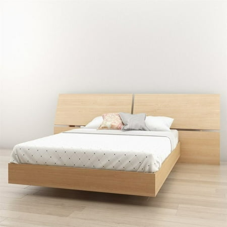 Nexera Nordik Full Platform Bed with Panoramic Headboard in Maple - image 1 of 2