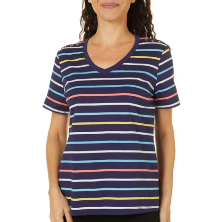 Coral Bay Petite Striped Button Shoulder Short Sleeve Top