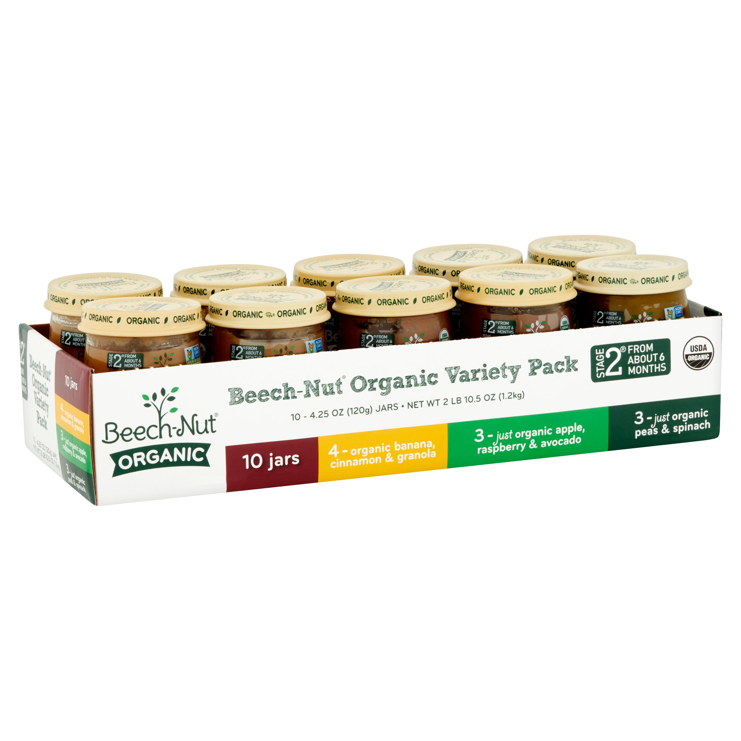 Beech-Nut Organic Stage 2 Baby Food Variety Pack, 4.25 oz, 10 count