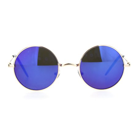 Mens Hippie Reflective Color Mirror Round Circle Lens Sunglasses Gold Blue (Color Circle Lenses)