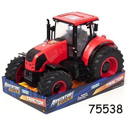 Large Red Farm Tractor Lights & Sounds, Real Tractor Light & Sounds By Adventure Force... by