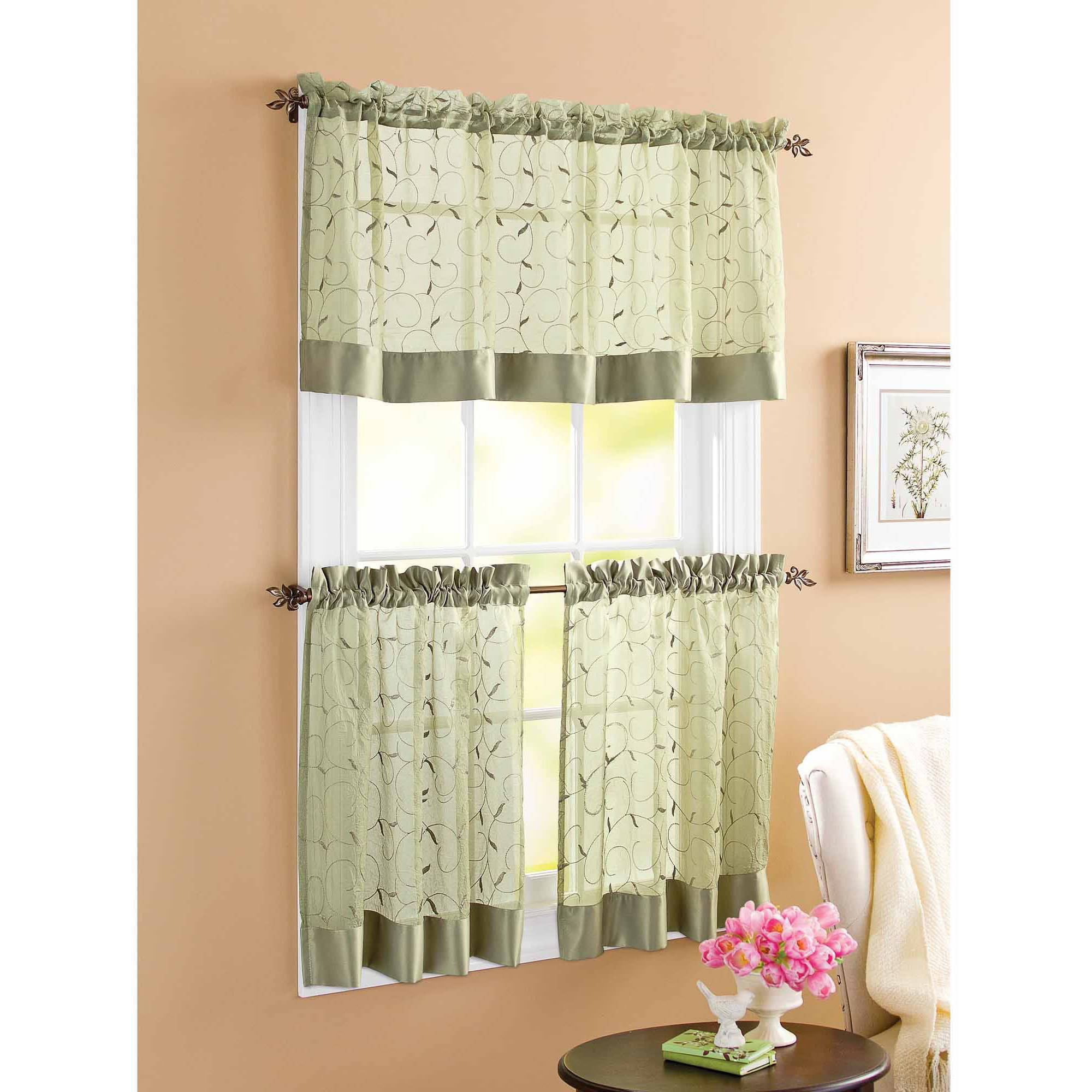 Better Homes and Gardens Sage Linen Leaf 3 Piece Kitchen Curtains