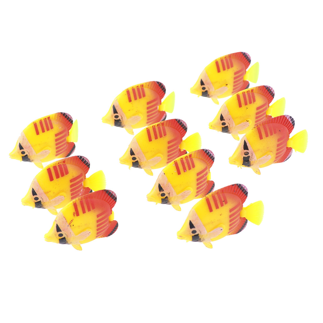 10 Pcs Yellow Red Artificial Plastic Movable Tail Fish for Tank Decor