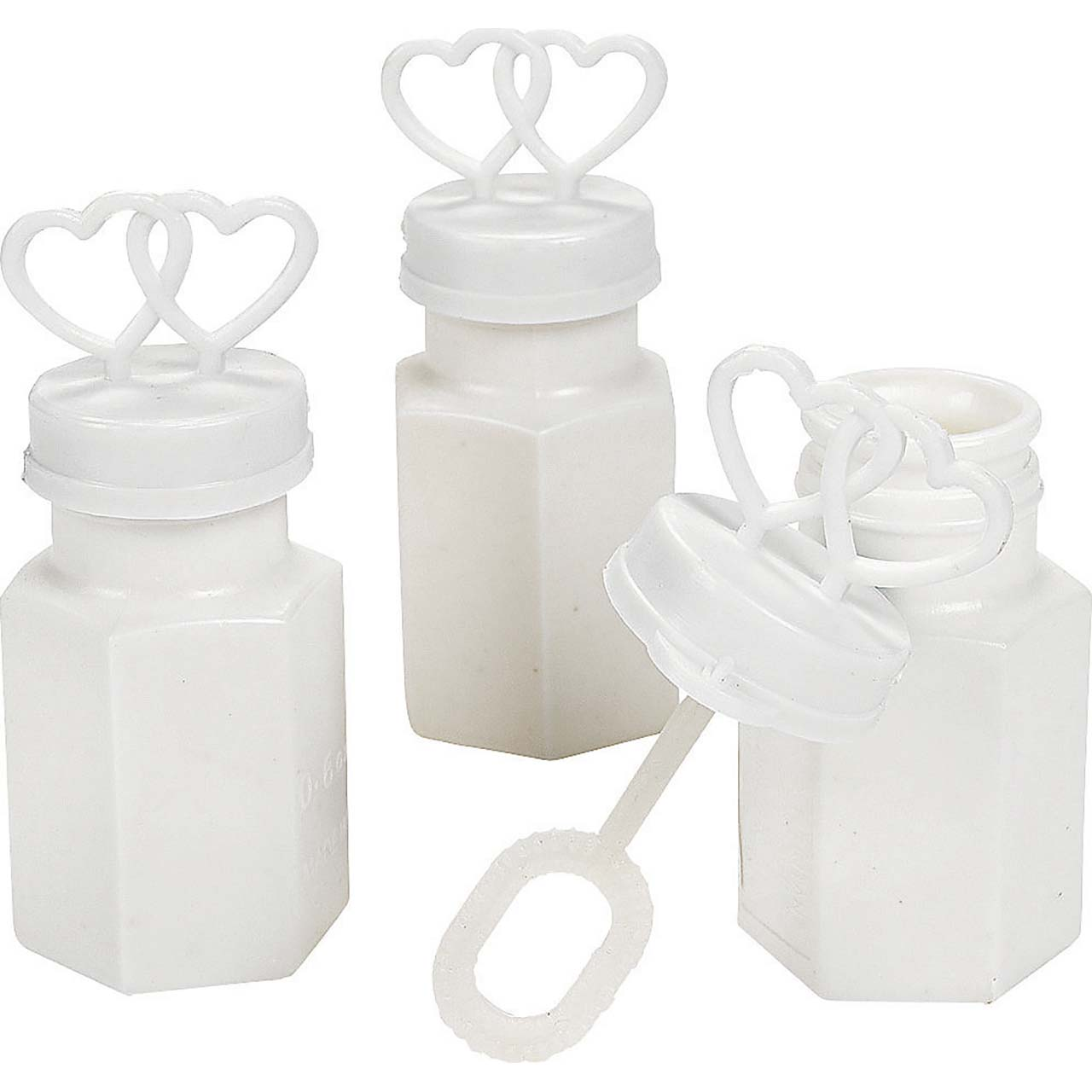 48 White Double Heart Wedding Bubbles Bridal Favors ...