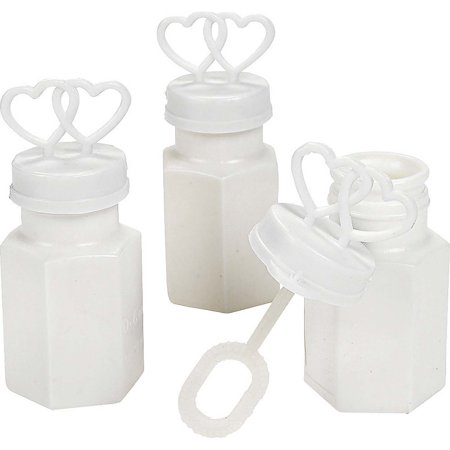 48 White Double Heart Wedding Bubbles Bridal Favors