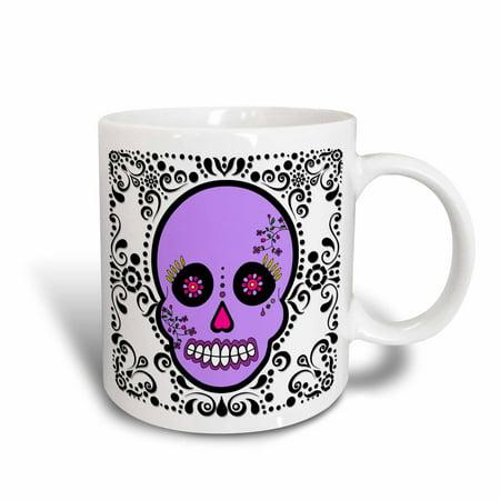 3dRose Day of the Dead Skull D?a de los Muertos Sugar Skull Purple White Black Scroll Design, Ceramic Mug,