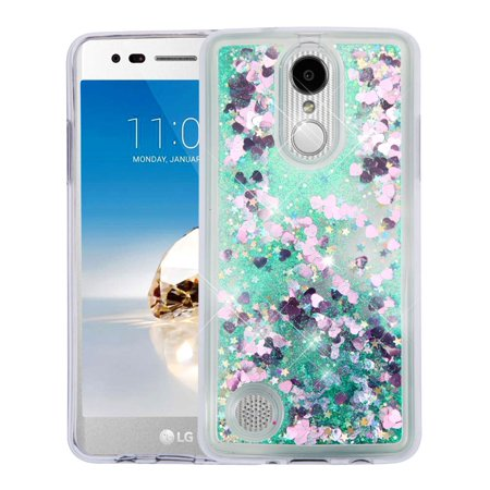 Rebel Floating - LG Aristo Case, LG Fortune Case, LG Phoenix 3 Case, LG Risio 2 Case, LG K4 Case, LG Rebel 2 LTE Case, TJS Glitter Floating Liquid Waterfall Bling Case Cover - Green