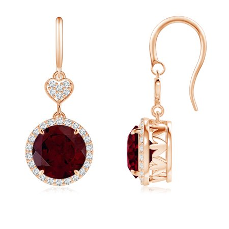 January Birthstone Earrings - Claw-Set Garnet Dangle Earrings with Diamond Heart Motif in 14K Rose Gold (8mm Garnet) - SE1043GD_N-RG-A-8