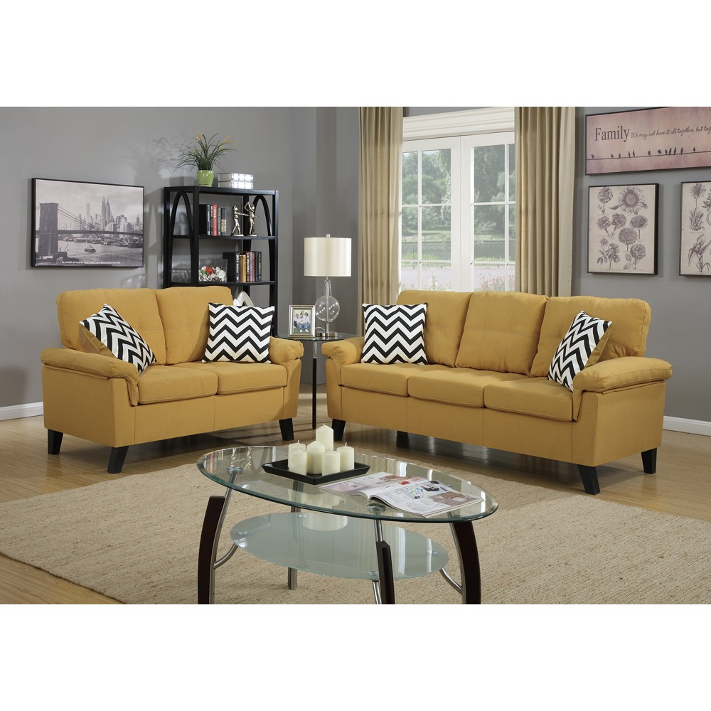 Linen Fabric 2 Pieces Sofa Set In Yellow