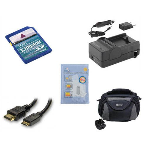 Panasonic HDC-SD90 Camcorder Accessory Kit includes: SDM-1529 Charger, KSD2GB Memory Card, ZELCKSG Care & Cleaning, HDMI3FM AV & HDMI Cable, SDC-26 Case