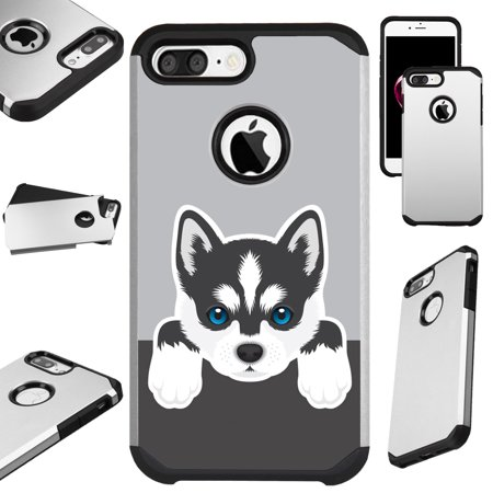 Huskey Dog (For Apple iPhone 8 Plus / Apple iPhone 7 Plus / Apple iPhone 6 Plus 6s Plus Hybrid TPU Fusion Phone Cover (Cute Dog Siberian)