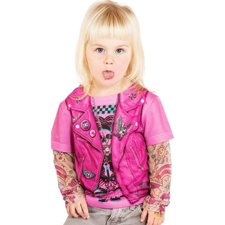 Toddler Pink Biker Girl Tattoo Costume Shirt