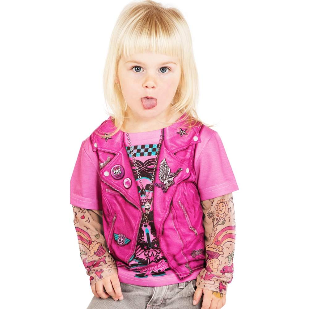 Toddler Pink Biker Girl Tattoo Costume Shirt