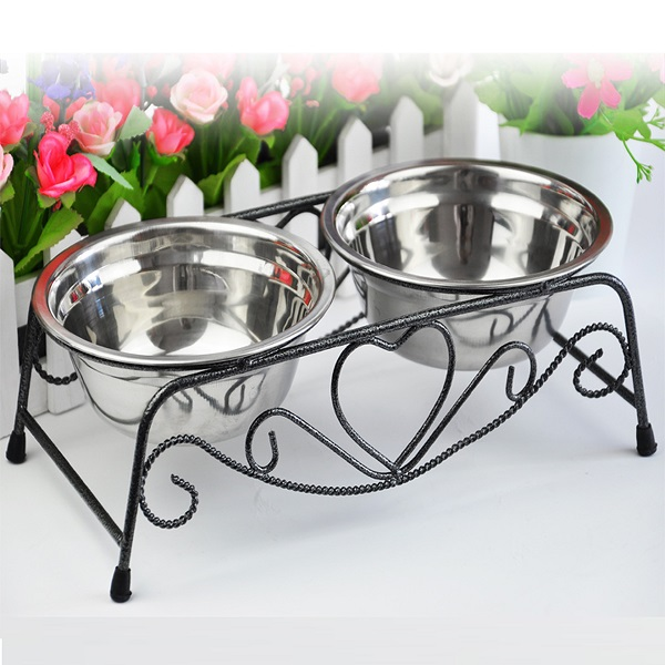 Stainless Steel Pets Dog & Cat Double Diner Water Feeder with Bowls Retro Iron Stand SPECIAL TODAY !