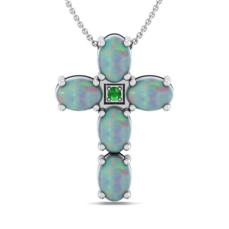 Genuine 2.73 Carat Oval Shaped Natural Opal 925 Sterling Silver Cross Pendant Necklace