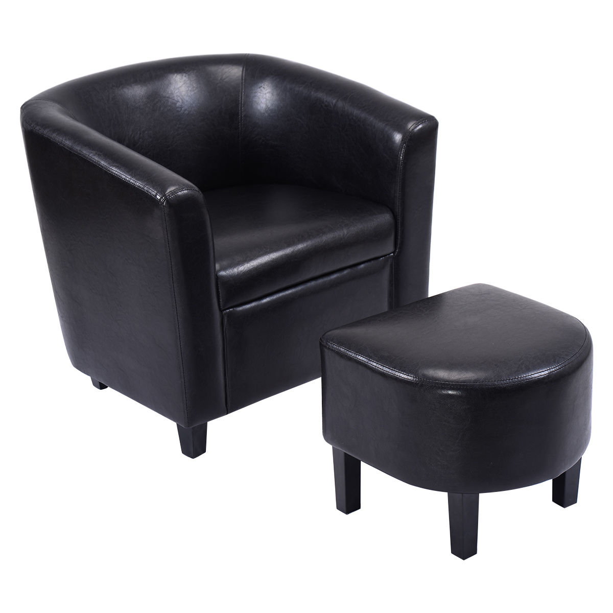 Costway Modern Leisure Chair PU Leather Wooden Arm Chair wOttoman