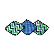 Bacati - MixNMatch Zigzag 3 pc Wash Cloths Cotton, Navy/Green