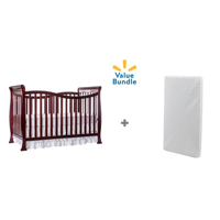 Dream On Me Violet 7-in-1 Convertible Crib with Mattress Value Pack (Cherry)