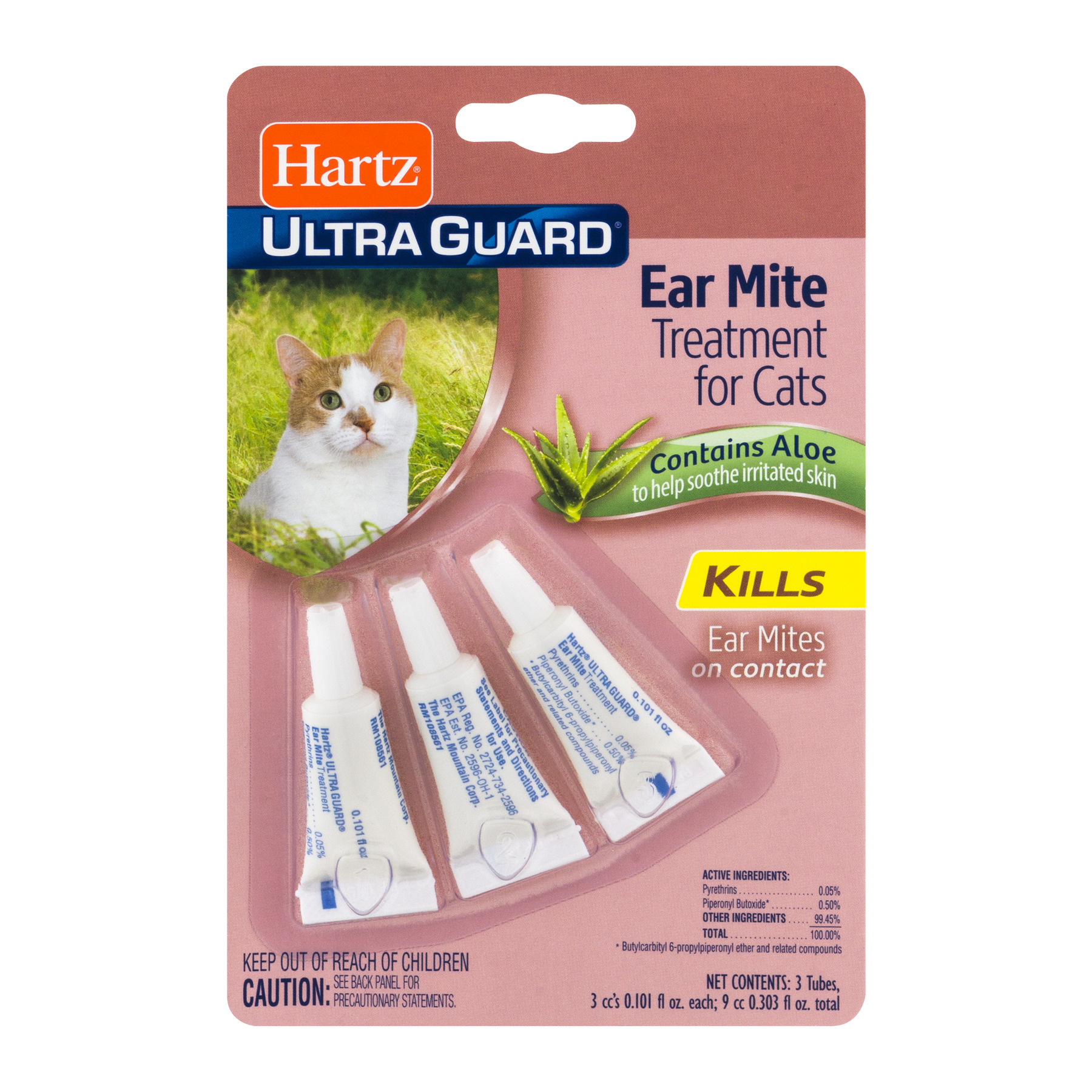 Hartz Ultra Guard Eat Mite Treatment for Cats Contains Aloe, 0.101 FL OZ