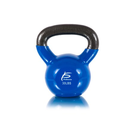 (ProSource Vinyl Coated Cast Iron Kettlebells Color-Coded 5 to 45 lb. with Extra Large Handles for Full Body Fitness Workouts)