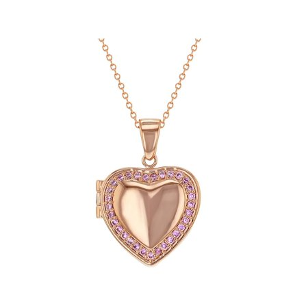 Plated Heart Locket (Rose Gold Plated Pink CZ Heart Shaped Locket Necklace Pendant for Girls 18