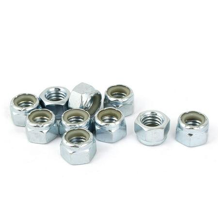 7/16 inch-14 Zinc Plated Hex Lock Nuts Silver Tone 10pcs