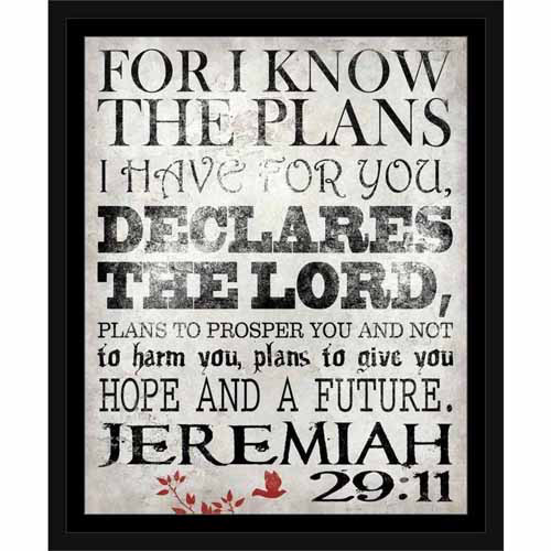 Lord's Plans Jeremiah Bird Branches Texture Religious Typography Black & White, Framed... by Circle Graphics