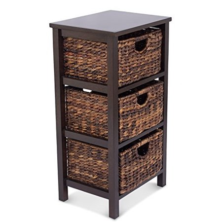 Birdrock Home Seagr Cubby Dresser 3 Drawer Bins Decorative Wood Storage Cubbies Shelf Organizer Furniture Chest Basket Espresso