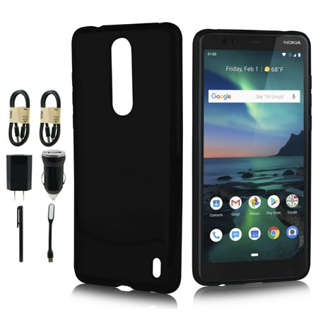 "Value Pack for 6"" Nokia 3.1 Plus Premium Clear Crystal Designed Flexible Soft TPU Protective Impact Resistant Extra Hybrid Slim Thin Lightweight Rubber Shockproof Bumper Rubber Phone Case + Black"