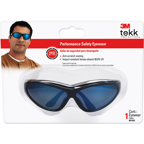 3M TEKK Protection Classics Series Safety Eyewear, Dual-lenses Design, Black frame, Blue Mirror lenses