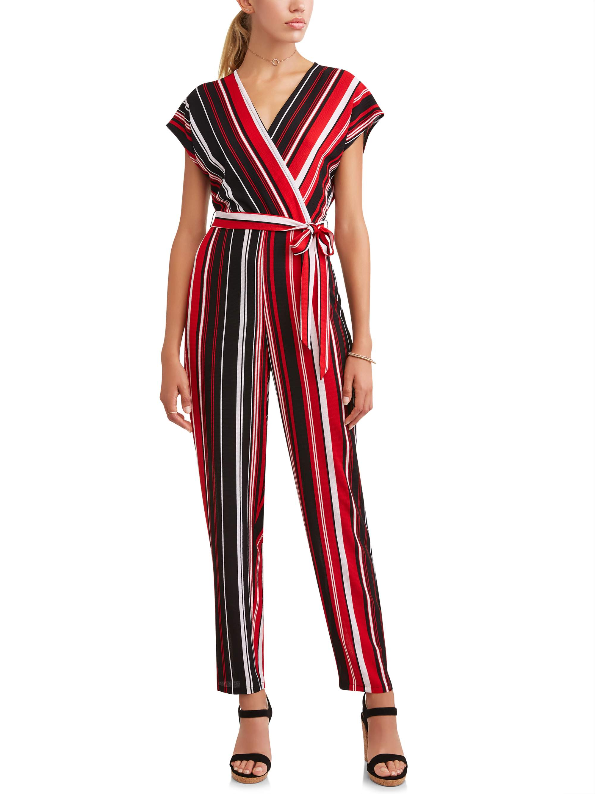 Juniors' Drop Shoulder Wrap Jumpsuit