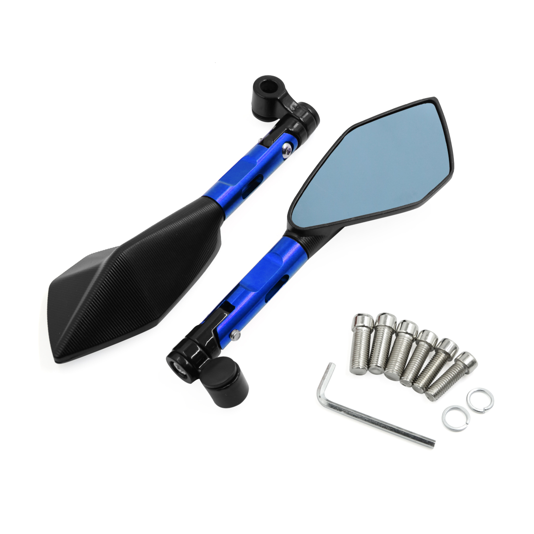 Pair Blue Handle Pentagonal Universal Rear View Mirror for Scooter Motorcycle