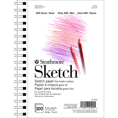 "Strathmore 200 Series Sketch Pad, 50 Lbs, Acid-Free, 5.5"" x 8.5"", 100 Sheets"