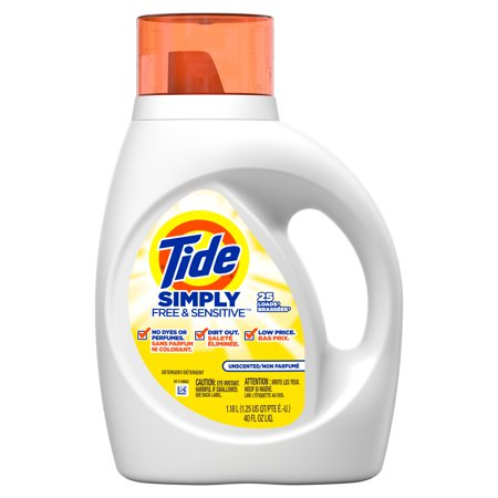 Tide Simply Free & Sensitive Liquid Laundry Detergent, 40 oz., 25