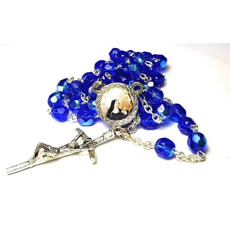 3rd class crystal glass relic rosary Saint Rita of Cascia patron of Lost impossible causes, sickness, wounds marital problems, abuse, mothers Santa Rita de Casia Causas imposibles,