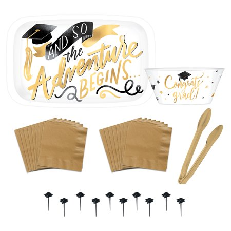 Party City Metallic Gold The Adventure Begins Graduation Serveware Kit - Working At Party City