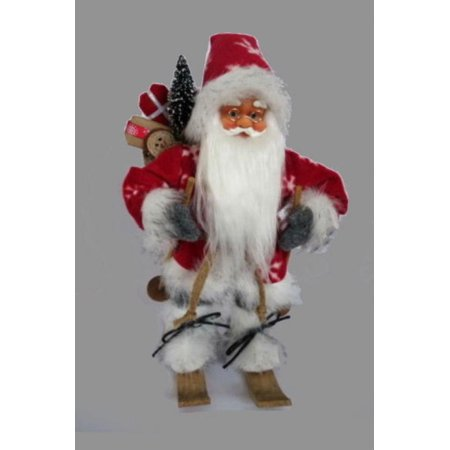 """18"""" Alpine Chic Red and Gray Snowflake Skiing Santa with Gift Bag Decorative Christmas Figure"""