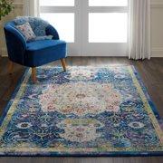 Nourison Global Vintage Oushak Bordered Blue Area Rug