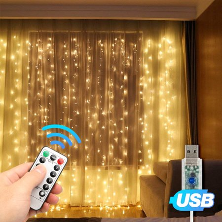Outdoor Decorations Lights (EEEKit 9.8ft x 9.8ft Window Curtain Fairy Lights 300 LED 8 Modes USB String Hanging Wall Lights with Remote for Home Garden Wedding Outdoor Indoor Decoration- (Cool White/Warm White/Multicolor))