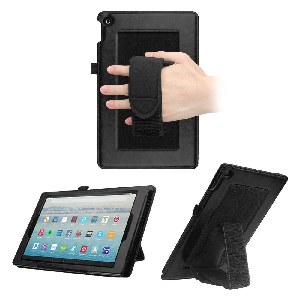 Fintie Case for All-New Fire HD 10 - Dual Stand PU Leather Back Cover w/ Detachable Hand Strap Holder Stand, Black