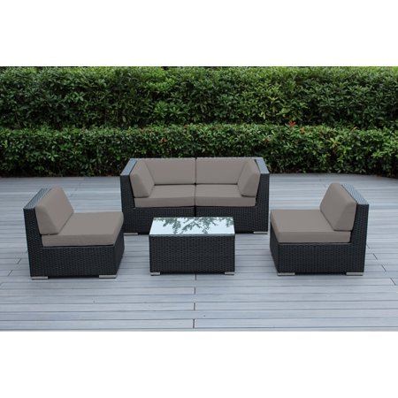 Ohana 5 Piece Outdoor Wicker Patio Furniture Sectional Conversation