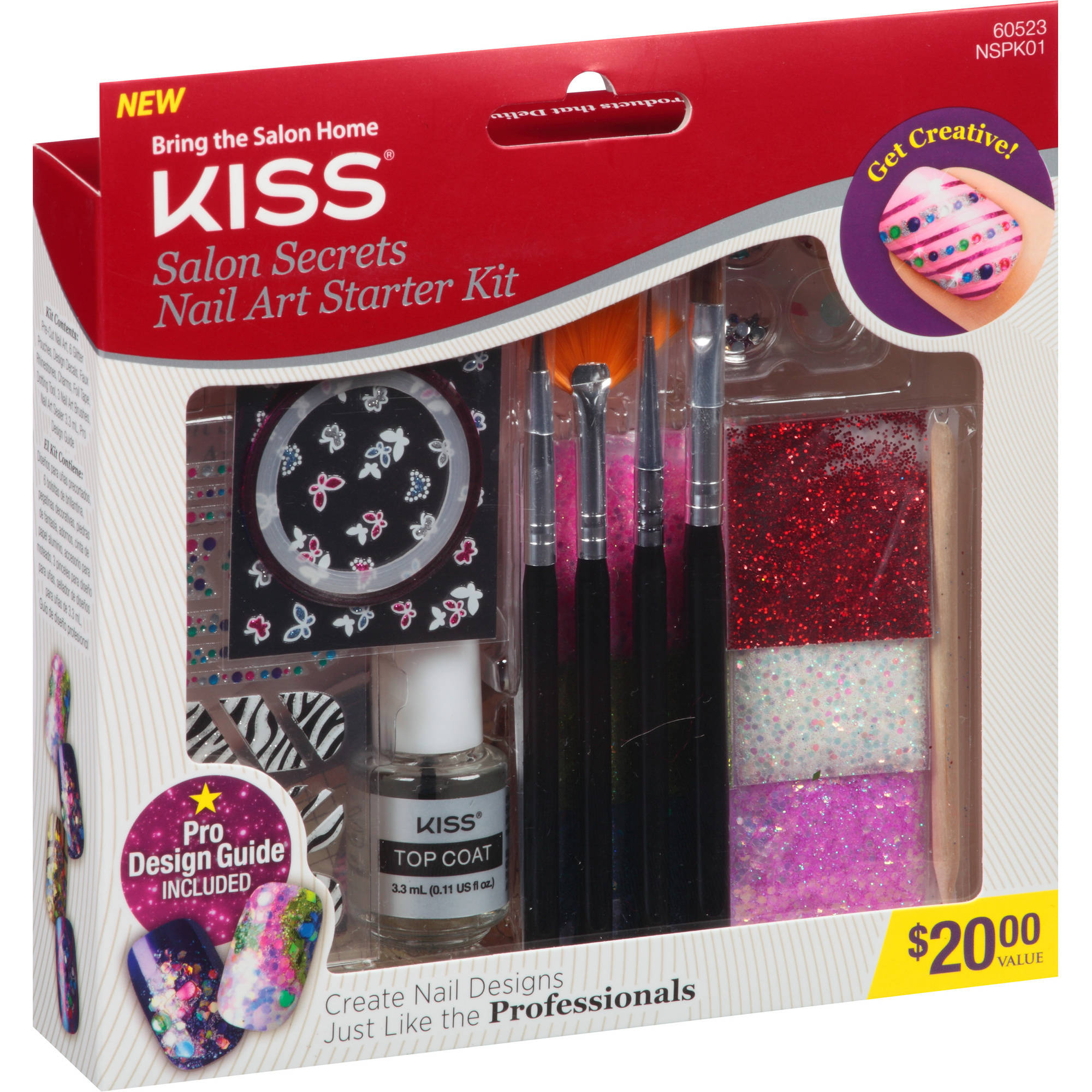 Kiss Salon Secrets Nail Art Starter Kit, 60523, 17 piece