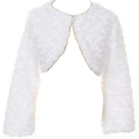Little Girls Adorable Faux Fur  Pearl Cover Up Bolero Jacket Shrug Winter White Size 2 (G10G7)