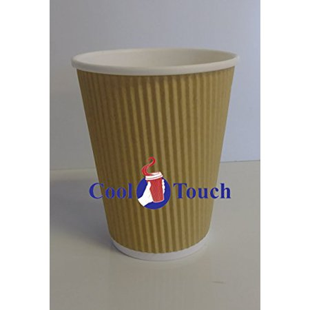 Cool Touch - Rippled Pre Sleeved Hot Cold Coffee Drink Cups (500, 12oz Cups Only)