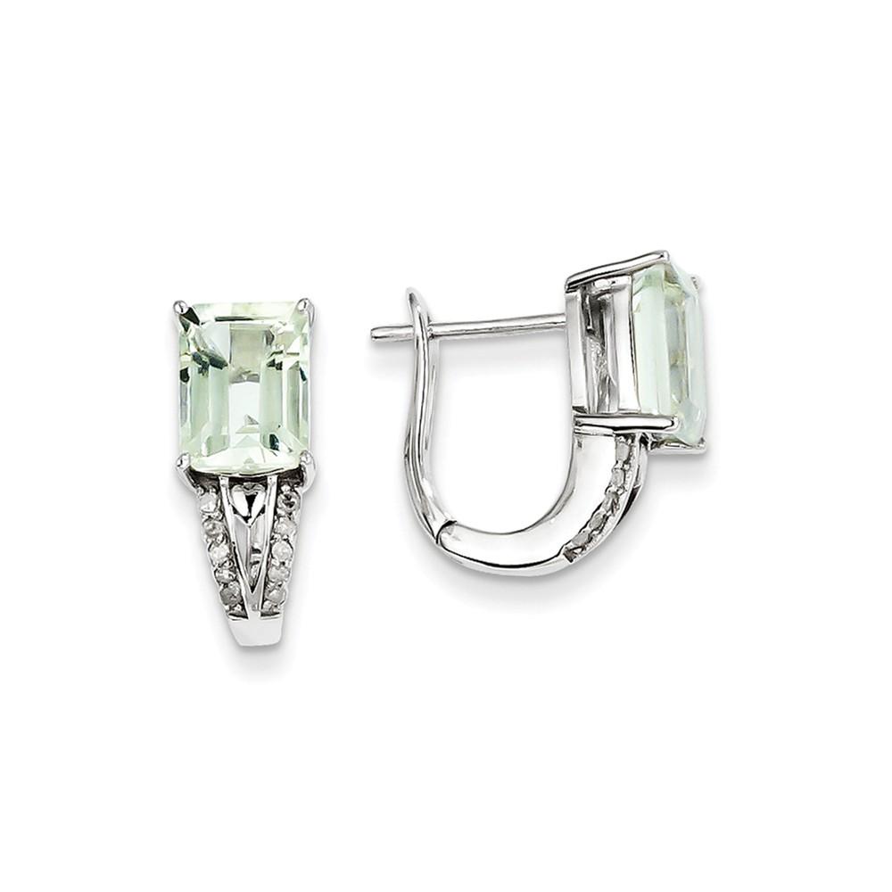 Sterling Silver 0.6IN Long Diamond & Green Quartz Hinged Earrings