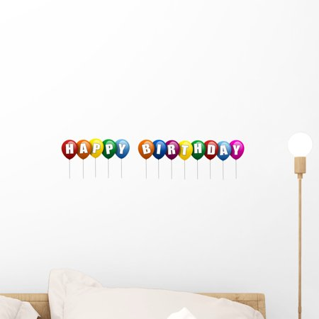Happy Birthday Peel - Happy Birthday Ballons Wall Decal by Wallmonkeys Peel and Stick Graphic (18 in W x 4 in H) WM188721