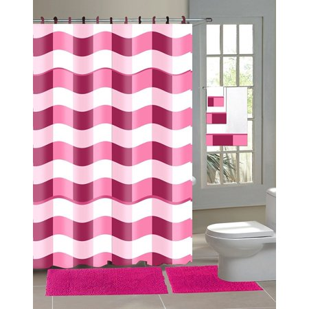18 Piece Chenille Shaggy Bathroom Set Bath Rugs Shower Curtain Hooks ...