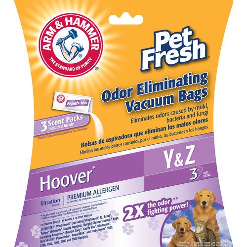 Arm & Hammer Premium Filtration Pet Fresh Odor Eliminating Vacuum Bags, Hoover Y Pet Fresh, 3 Pack